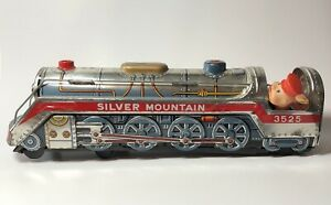 "Vintage Silver Mountain Japan Tin Litho Train Battery Operated Retro Large 15"" +"