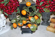 Wonderful Natural Jadeite Stone & Porcelain Oriental Bonsai Orange Blossom Tree
