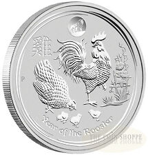 LUNAR YEAR OF THE ROOSTER - 2017 1 oz Pure Silver BU Coin LION PRIVY - AUSTRALIA