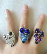 Animal 2Pcs night owl 3D Wedding With Color full Crystal Adjustable Ring Women