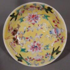 China Chinese Yellow Glaze Polychrome Enamel Decor Condiment Bowl Qianlong mark