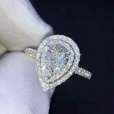 1.25ct Pear Cut Moissanite 14K White Gold Double Halo Engagement & Wedding Ring