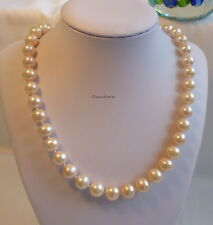 Genuine silver 10-11mm circle outstanding freshwater pearls necklace cream Pink