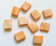 20 Rectangular Shell Beads - Orange - 12 x 10mm