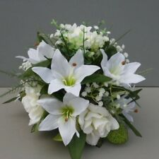 Wedding Table Flower Centrepiece With Ivory Roses & Lilies