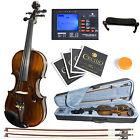 Mendini MV500 Size 4/4 3/4 or 1/2 Ebony 1pc-Back Flamed Violin +Tuner+2 Bow