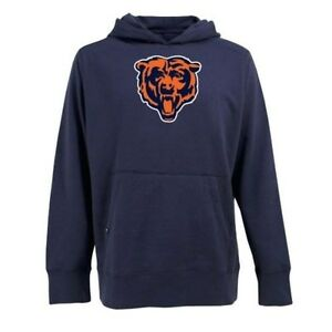 NEW Chicago Bears Navy Blue Signature Hooded Sweatshirt - Mens Large