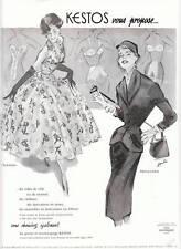 Publicité ancienne Kestos robes tailleurs 1955 issue de magazine