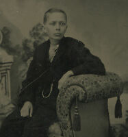 ANTIQUE VICTORIAN ARTISTIC YOUNG HANDSOME BOY BLONDE BLUE EYES TINTYPE PHOTO