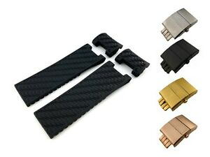 Black/Navy/Brown Rubber Silicone Strap/Band for Ulysse Nardin Watch 22mm Clasp