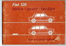 Libretto uso manutenzione Fiat 128 berlina - special - familiare