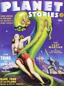 SCI FI ASIMOV PLANET STORIES MARTIAN ALIEN SPACE ART PRINT POSTER BB9381