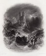 """FRAMED George BALMER SIGNED 1800s Engraving """"The Dunstanburgh Castle"""" SIGNED COA"""