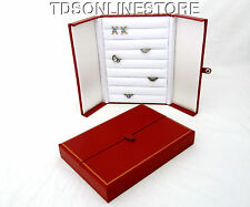 Red With Gold Trim 8 Row Ring, Earring, Cufflink Storage Box