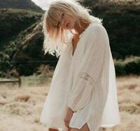 L Bohemian Cotton Gauze Lace Tassel Vtg 70s Insp Blouse Top Womens LARGE NWT