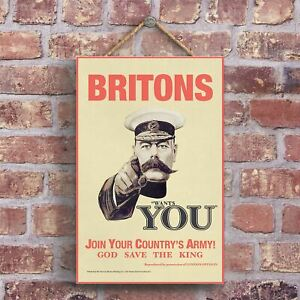 A CLASSIC LORD KITCHENER BRITONS WANTS YOU VINTAGE AD ON A WOODEN PLAQUE