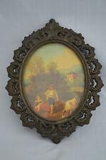 Italy Vintage Oval Art Print Golden Bronze Color Ornate Metal Filigree Frame #FF
