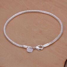 Damen Herren Snake Armband Elegant Poliert Draht Charms Armreif 925 Silber Neu
