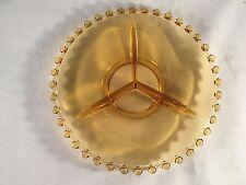 "Amber Orange Hobnail Edge Sectioned Depression Glass Plate Platter 8-1/2"""