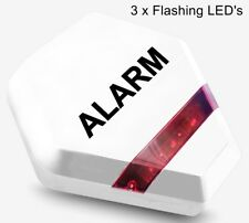 Dummy Burglar Alarm Box - Solar Powered - Dummy Alarm Siren LED Lights  White