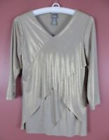 STK1937- CHICO'S TRAVELERS Womens 95% Polyester Blouse Gold Shimmer Sz 0 XS S