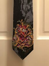Ed Hardy Mens Love Kills Slowly Blue Classic Silk Neck Tie New