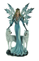 Blue Ice Fairy Standing With Winter White Wolves Statue