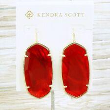 NWOT Kendra Scott Danielle Faced Cherry Red earring Gold Tone