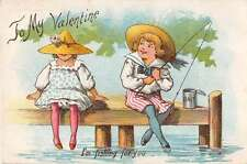 Valentines Greetings Fishing Antique Postcard J53200