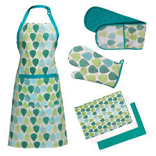 Premier Housewares 100% Cotton Green Leaf Apron Oven Glove And Tea Towels Set