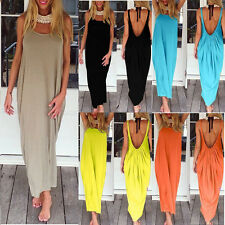 NEW Ladies Low Cut Backless Summer Casual Maternity Tops Vest Long Maxi Dress