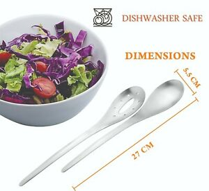 2 x Salad Server Spoon Set Kitchen Dining Stainless Steel Spoons Size 27cm New