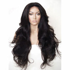 Women Fashion Long Black Lace Front Curly Hair Cosplay Party Synthetic Full Wigs