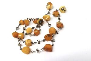 A Nice Antique Art Deco Sterling Silver 925 Natural Amber Beaded Necklace A/F