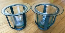 Vintage Wrought Iron Glass 2 Hurricane Candle Holders from Crate & Barrel