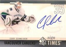 10-11 ud sp authentic sign times cory schneider vancouver canucks autograph auto