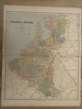 1883 HOLLAND & BELGIUM LARGE COLOURED MAP BY GEORGE PHILIP 69 cm x 54 cm