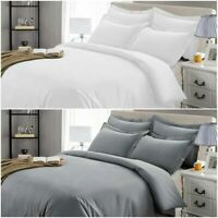 Luxury Satin White Grey Duvet Cover 100% Egyptian Cotton Double King Bedding Set