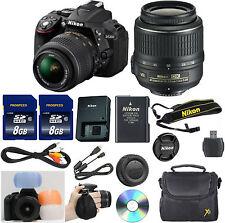 Nikon D5300 Black DSLR Camera w/ VR 18-55mm + 16GB Memory Value Bundle + Strap+