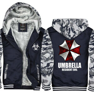 Resident Evil Hoodie Thicken Zipper Warm Sweatshirt Winter Jacket Fleece Coat
