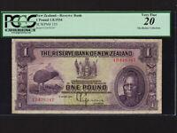 New Zealand:P-155,1 Pound,1934 * Maori Chief * PCGS VF 20 *