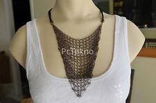 Urban Outfitters Copper tone Chain Link Mesh Leather Necklace - NEW