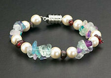 Magnetic Bracelet Clasp Hematite Bead Pearls Multi-Color Natural Agate Stone