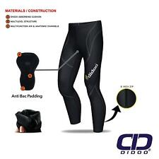 Mens Thermal Cycling Tights Padded Long Pants ZIPPER Bike Leggings Cold Wear Large