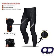 Mens Thermal Cycling Tights Padded Long Pants ZIPPER Bike Leggings Cold Wear L