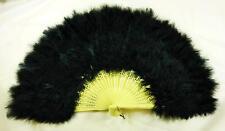 Black Feather Fan French Maid Moulin Rouge Victorian Style Fancy Dress