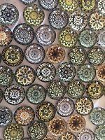 20 PINK MANDALA GLASS CABOCHONS 12MM-FLATBACK//JEWELLERY//GEMS-SPIRITUAL CABOCHON