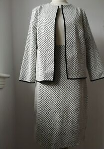 Marks & Spencer M&S Skirt Suit chevron detail Jersey fabric 12