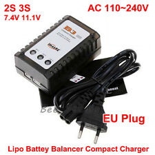 B3 Lipo Batería Equilibrio Cargador 7.4V 11.1V 2S 3S 100-240V para cuatro enchufe de la UE