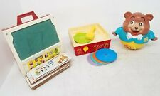 Vintage Fisher Price Toys 3pc Lot: School Desk - Record Player - Rolling Bear